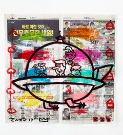 """Jetson Spaceship"" Acrylic and Collage on Korean newsprint"