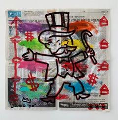 """Monopoly"" Acrylic and Collage on Korean newsprint"