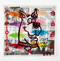 """""""Scooby"""" Acrylic and Collage on Korean newsprint"""