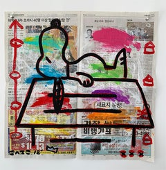"""""""Snoopy Dog House"""" Acrylic and Collage on Los Angeles newsprint"""