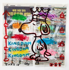 """""""Snoopy Kingdom"""" Acrylic and Collage on Los Angeles newsprint"""
