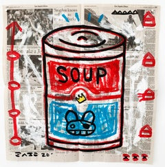 """""""Soup Can"""" Acrylic and Collage on Los Angeles newsprint"""