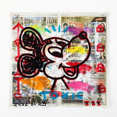 """Toxic Mickey"" Acrylic and Collage on Korean newsprint"