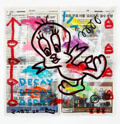 """Tweety Decay"" Acrylic and Collage on Korean newsprint"