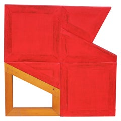 Division - Red Geometric Abstract Painting