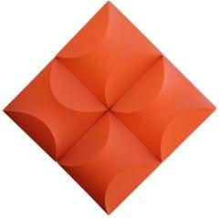 """Alternator"" Orange 3-Dimensional Geometric Painted Wall Sculpture"