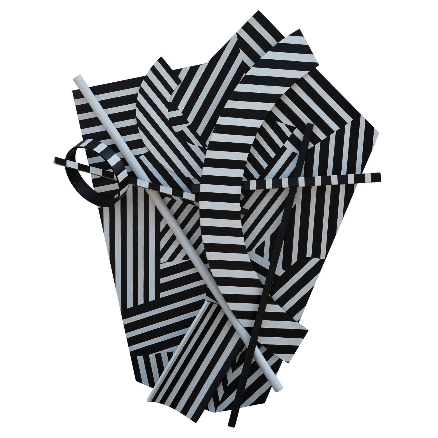 """Cut + Dried"" Stripped Asymmetrical Dimensional Painted Sculpture"