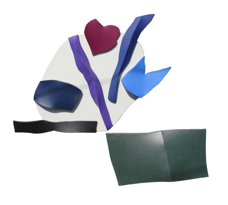 """Purple, blue, magenta, black, and white geometric abstract painting/ wall sculpture by Gary Jurysta titled """"Rising Currents"""".  Acrylic on stretched canvas, circa 1972. Signed, dated, and titled by artist.  Artist Biography: Gary Jurysta graduated"""