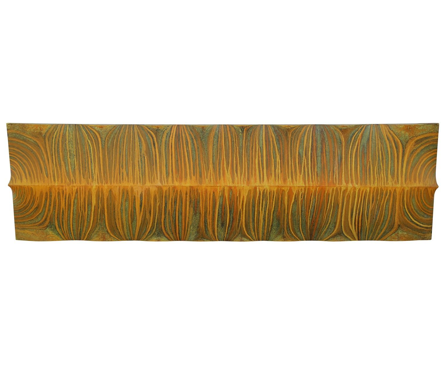 """""""Serengeti"""" Convex Yellow Striped Painted Wall Sculpture"""
