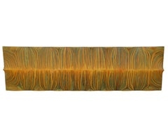 """Serengeti"" Convex Yellow Striped Painted Wall Sculpture"