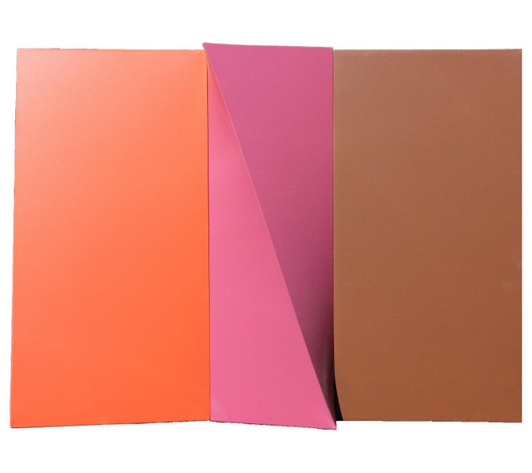 """Gary Jurysta Abstract Painting - """"Slice"""" Orange, Pink, and Light Brown Wall Sculpture"""
