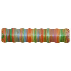"""Spectrum"" Colorful Painterly Rippled Wall Sculpture"
