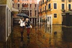 Venetian Rain, Oil Cityscape Painting