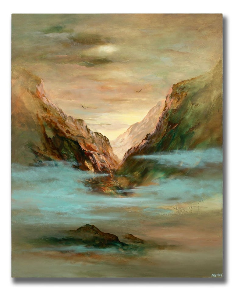 Large 5-Foot Landscape Oil Painting on Canvas by Gary Kremen, Frameless Display For Sale 1