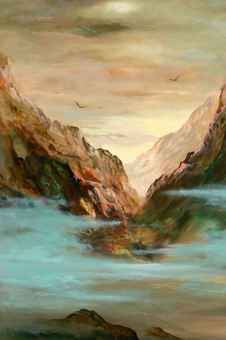 Large 5-Foot Landscape Oil Painting on Canvas by Gary Kremen, Frameless Display For Sale 2