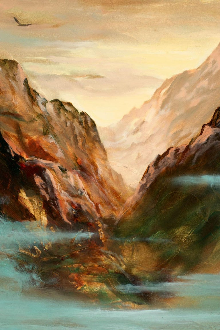 Large 5-Foot Landscape Oil Painting on Canvas by Gary Kremen, Frameless Display For Sale 3