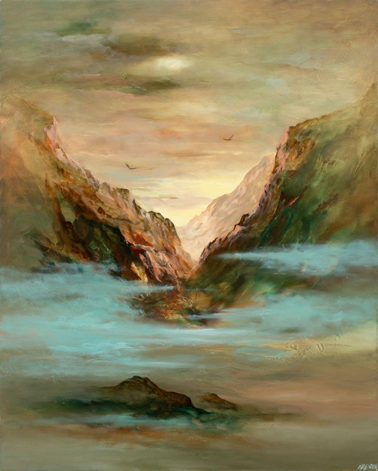Untitled Surrealist Landscape, an original oil on canvas by Gary Kremen, is a piece for the true collector. Kremen's fine attention to detail is evident here, depicting a vast mountain range with fog covered ground and birds flying in the distance.