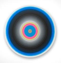 Gary Lang, BLUELIGHTSIX, 2015, acrylic on canvas, tondo, geometric abstraction