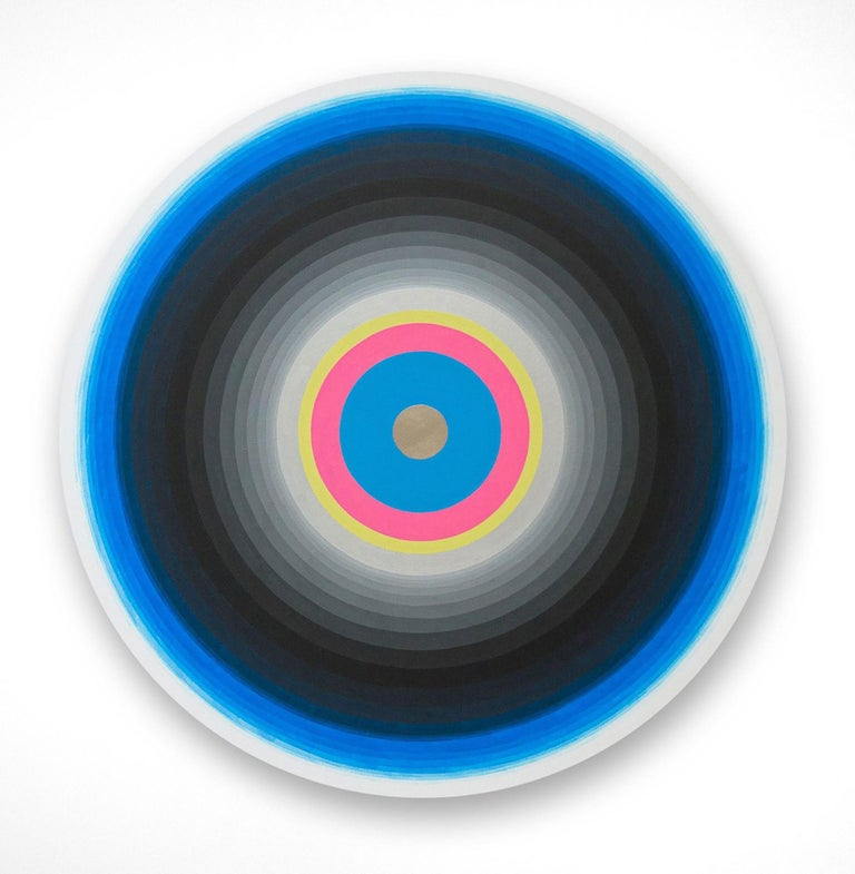 Gary Lang, BLUELIGHTSIX, 2015, acrylic on canvas, tondo, geometric abstraction - Painting by Gary Lang