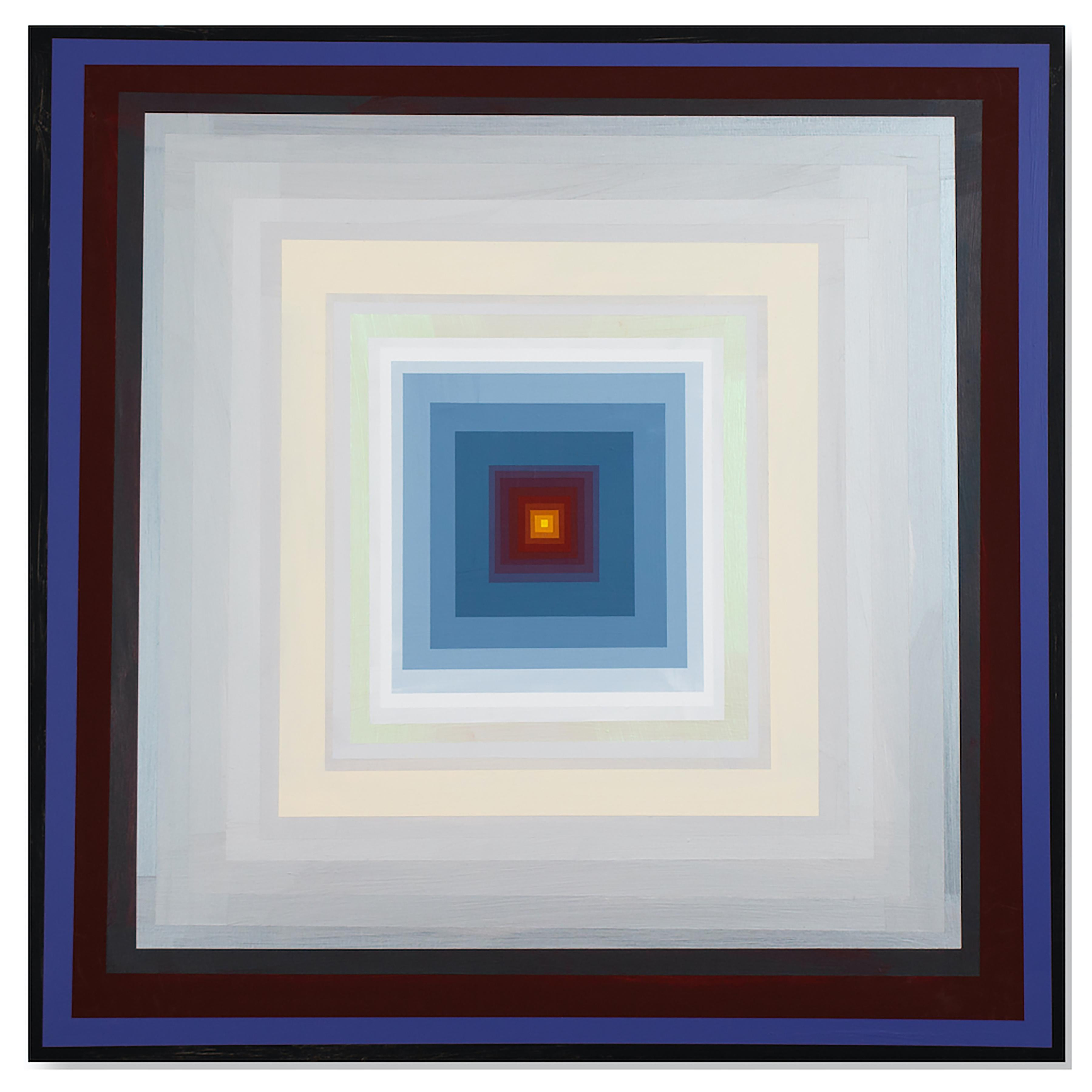 Gary Lang, CONCENTRICSQUAREFIVE, 2020, acrylic on panel, geometric abstraction