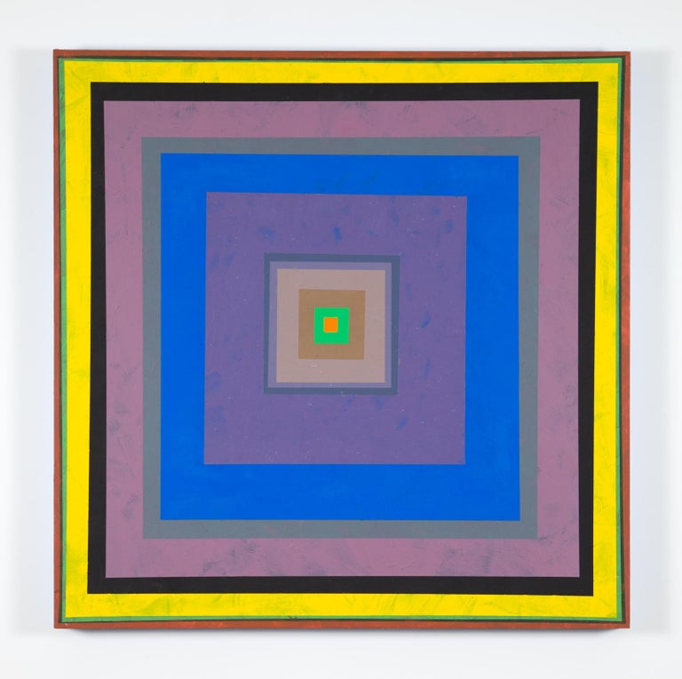 Gary Lang, CONCENTRICSQUAREONE, acrylic painting on panel, geometric abstraction - Painting by Gary Lang
