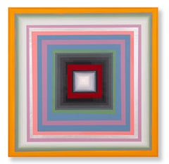 Gary Lang, CONCENTRICSQUARETEN, acrylic painting on panel, geometric abstraction