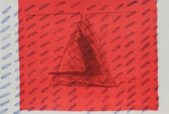 1990s Abstract Triangle Lithograph and Monoprint