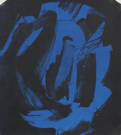Abstract Print in Blue and Black 1997 Lithograph