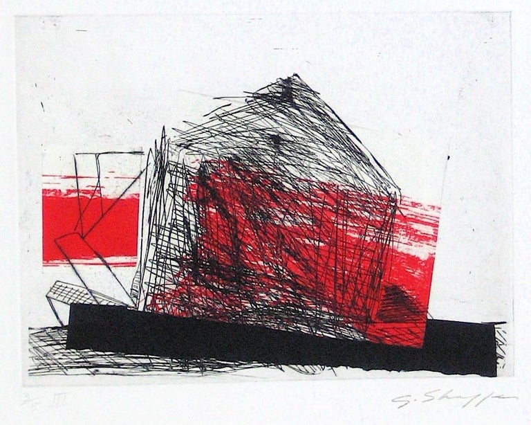 Abstracted Duel Image 1989 Red and Black Litho & Chine Colle - Print by Gary Lee Shaffer