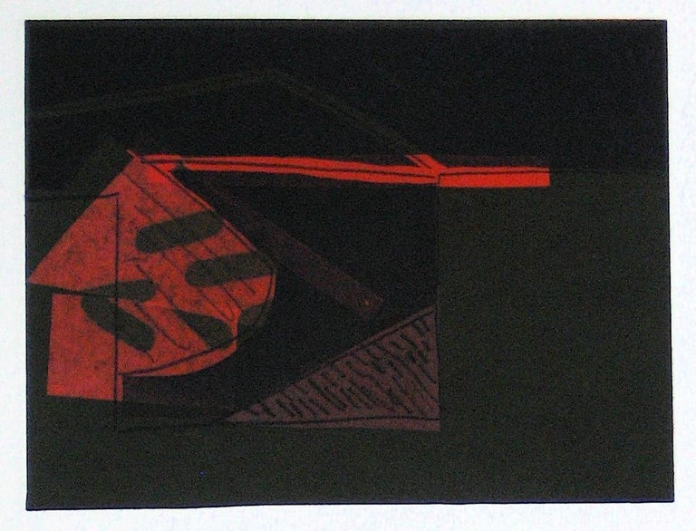 Abstracted Duel Image 1989 Red and Black Litho & Chine Colle - Expressionist Print by Gary Lee Shaffer