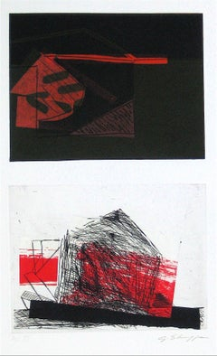 Abstracted Duel Image 1989 Red and Black Litho & Chine Colle