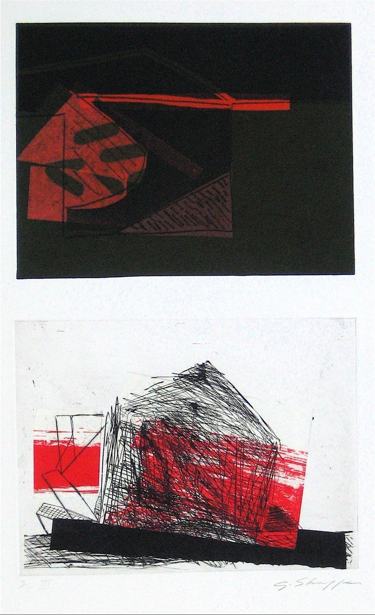Gary Lee Shaffer Abstract Print - Abstracted Duel Image 1989 Red and Black Litho & Chine Colle