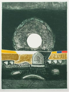 """""""House Monument"""" 1976 Collograph Abstract"""