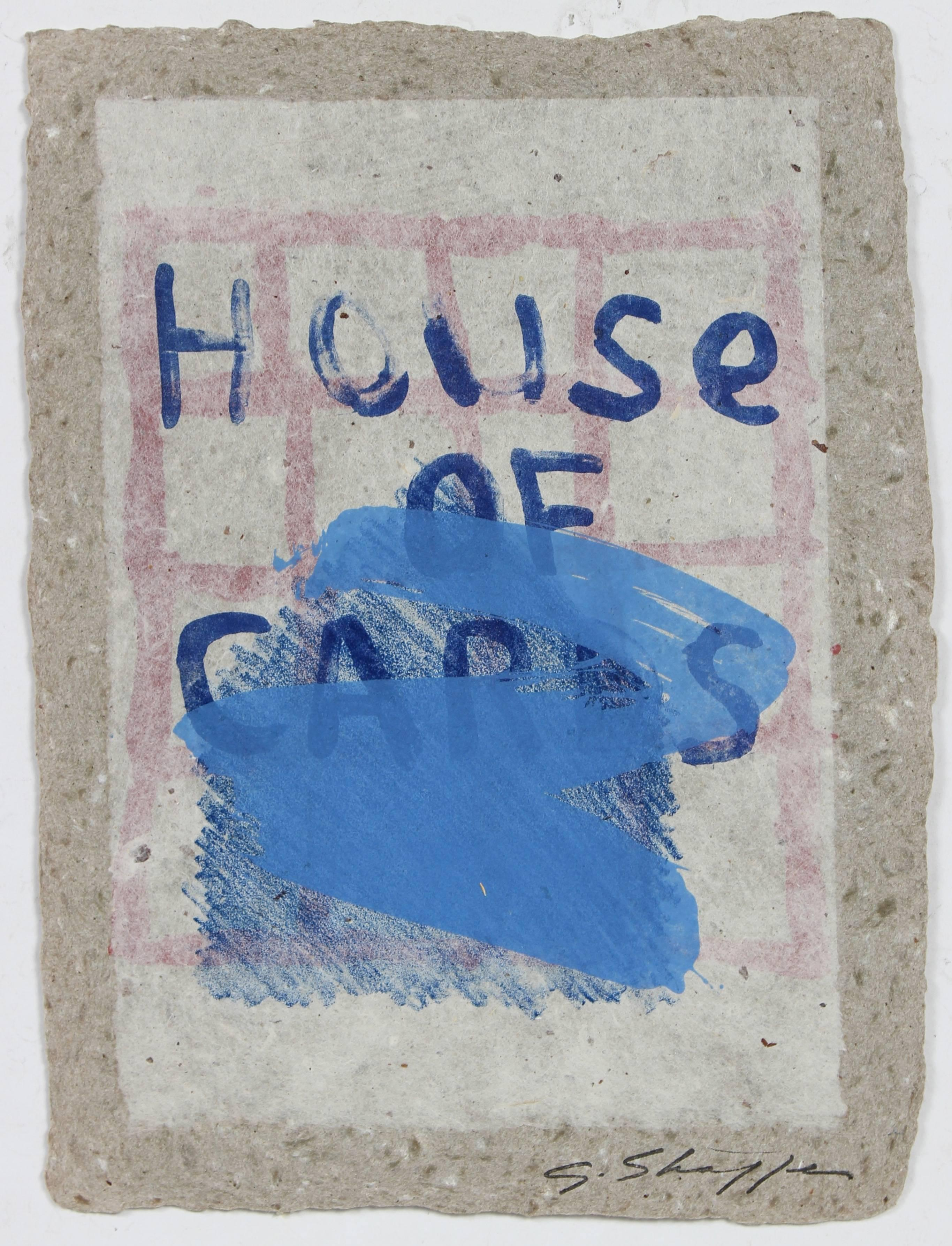 """""""House of Cards"""" Abstract Lithograph with Blue on Natural Handmade Paper, 1992"""