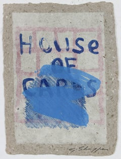 """""""House of Cards"""" Abstract Lithograph on Handmade Paper, 1992"""