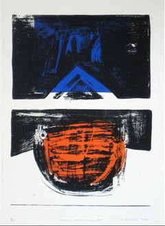 """Iconic Landscape III"" Abstract Lithograph Print, 1966"