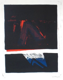 Large Abstract Expressionist Print, Stone Lithograph, 1966
