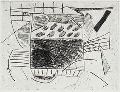 """""""Passing Through"""" Monochromatic Abstract Etching, Circa 1990s"""