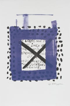 Square Abstract Lithograph in Indigo with Polka Dots and Text, 1999