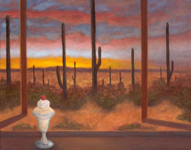 This oil on canvas painting has a warm palette. The piece contrasts a cold ice cream in a parfait glass on a shelf with an open window overlooking an expansive desert landscape. The artist has signed this oil on canvas on the back.  Gary Masline is