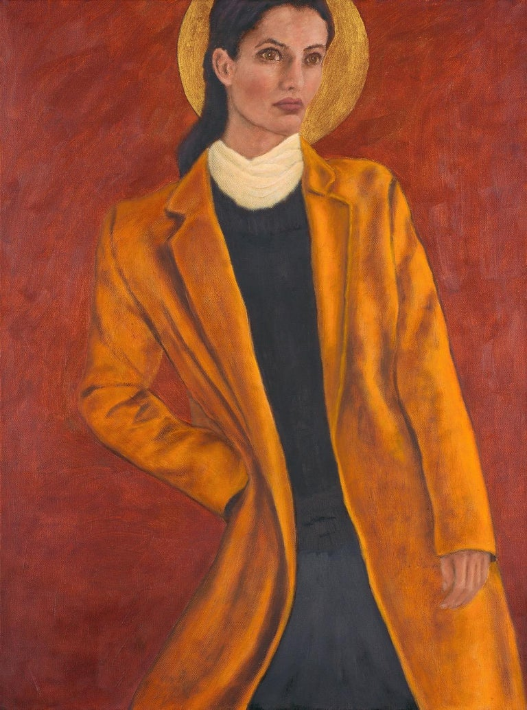 In this oil on canvas painting, the cadmium yellow coat of a woman in an angled pose contrasts with a red over copper underpainting, creating an atmospheric background. A gold moon behind her head evokes a halo and imparts to the viewer that she is