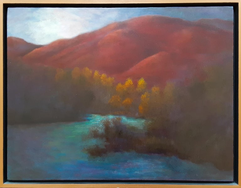 Oil on Canvas Painting-- Red Mountain Dawn - Black Landscape Painting by Gary Masline