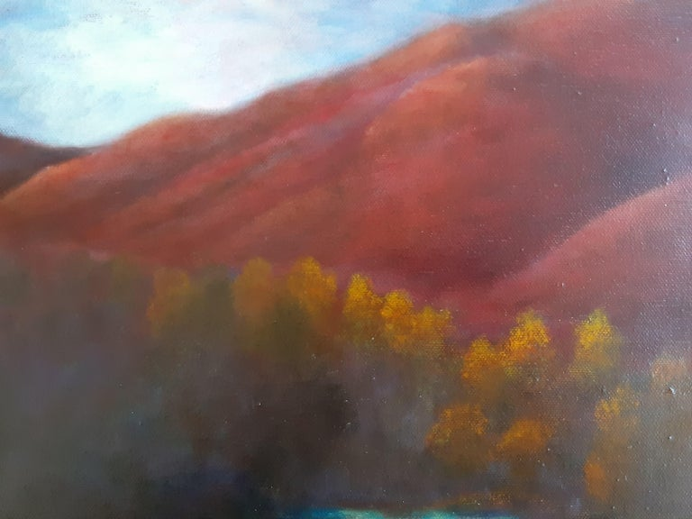 Oil on Canvas Painting-- Red Mountain Dawn For Sale 6