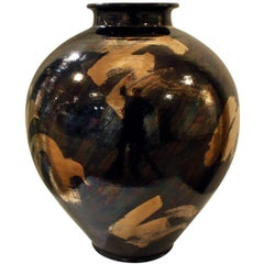 Gary McCloy Ceramic Vase with Gunmetal and Gold Glazes, 1980s