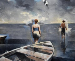 Walking on Water, Figurative Painting, Boat, Sea, Children, Adolescence, Fantasy