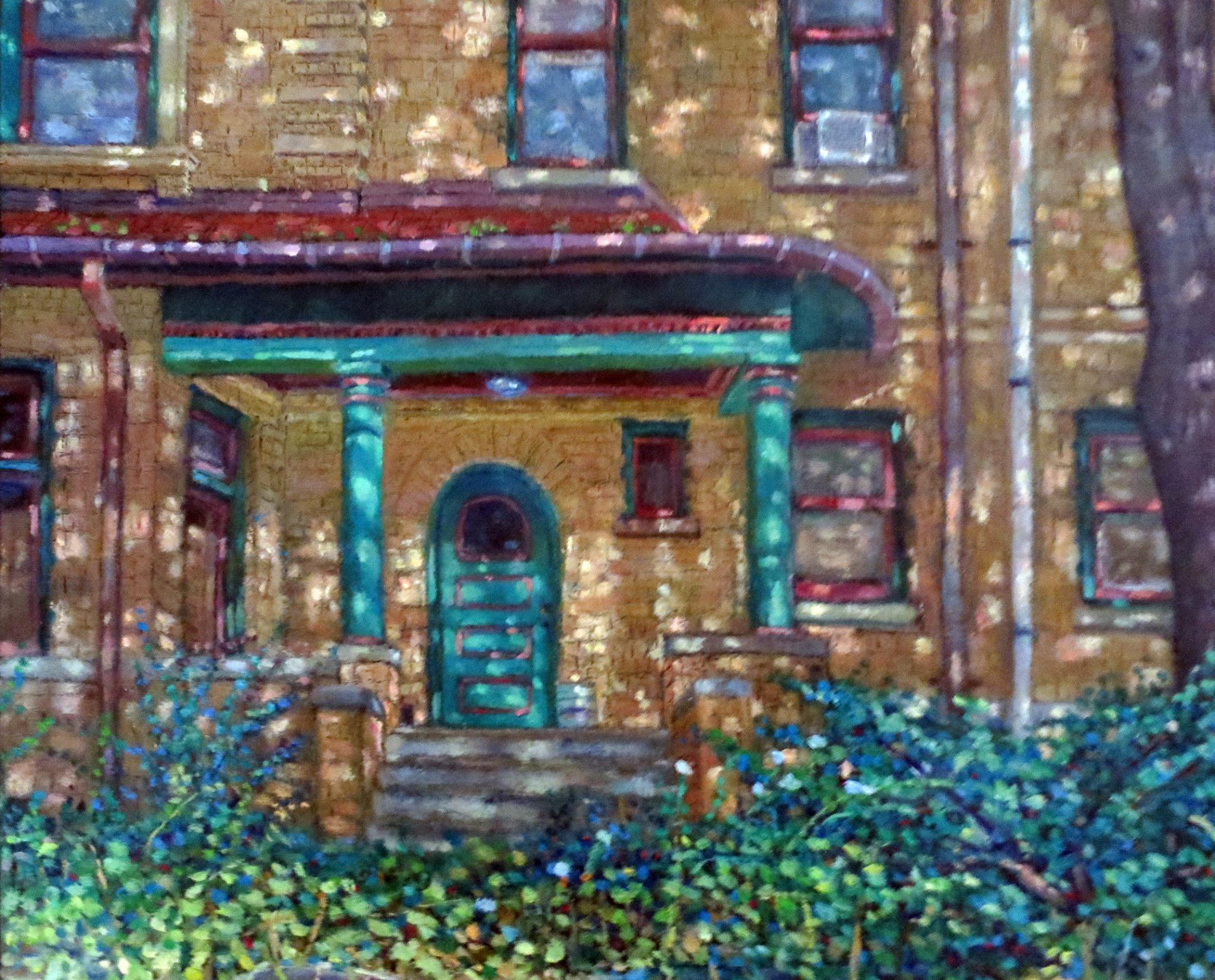 Oil on Linen painting  -- Green Pillars