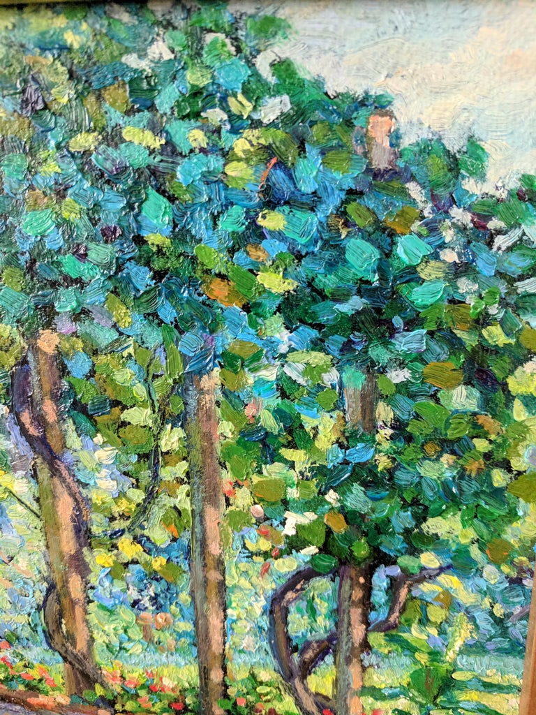 Impressionist Oil Painting on Linen  --  The Arbor For Sale 1