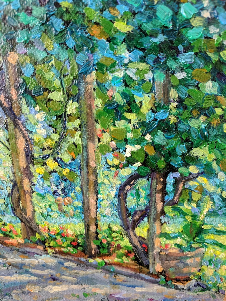 Impressionist Oil Painting on Linen  --  The Arbor For Sale 2