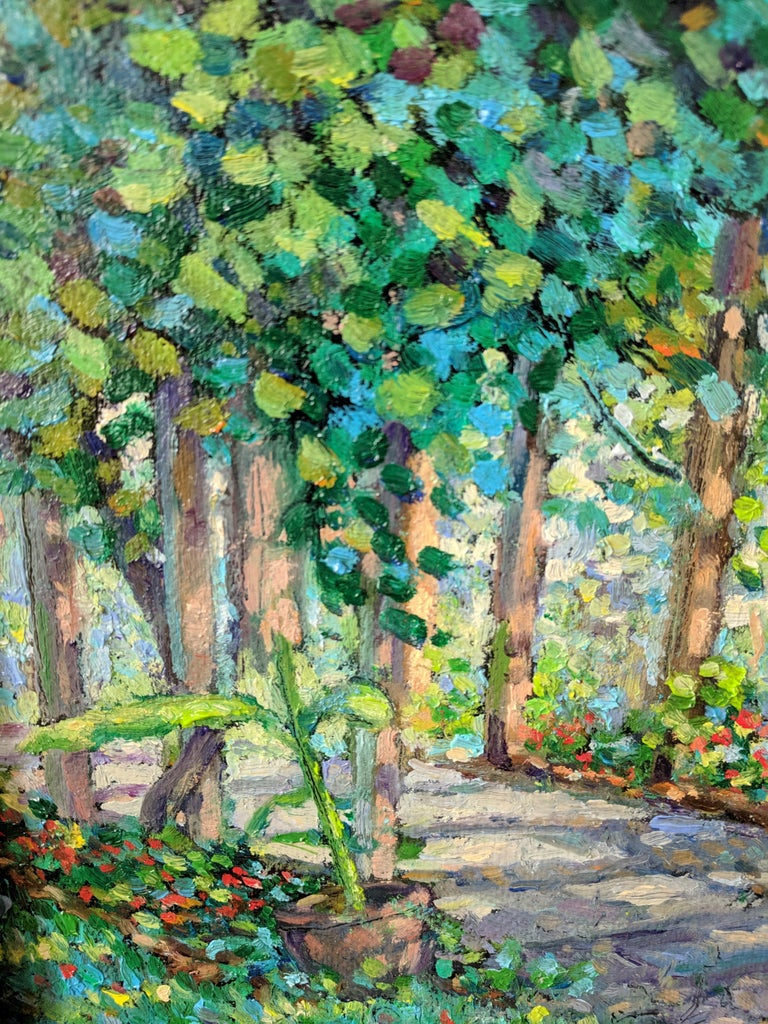 Impressionist Oil Painting on Linen  --  The Arbor For Sale 3