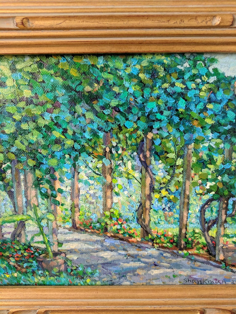 Impressionist Oil Painting on Linen  --  The Arbor For Sale 4